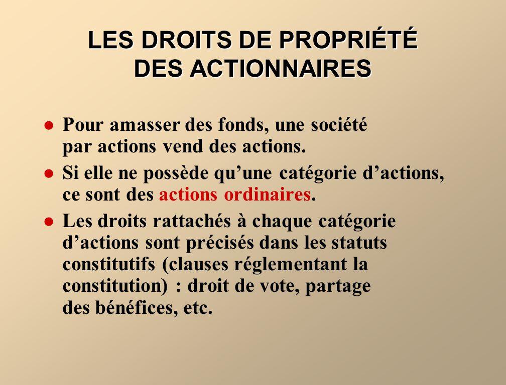 LES DROITS DE PROPRIÉTÉ DES ACTIONNAIRES Pour amasser des fonds, une société par actions vend des actions. Si elle ne possède quune catégorie dactions