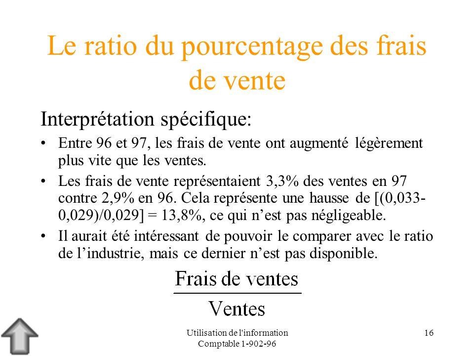 Utilisation de l information Comptable 1-902-96 16 Le ratio du pourcentage des frais de vente Interprétation spécifique: Entre 96 et 97, les frais de vente ont augmenté légèrement plus vite que les ventes.