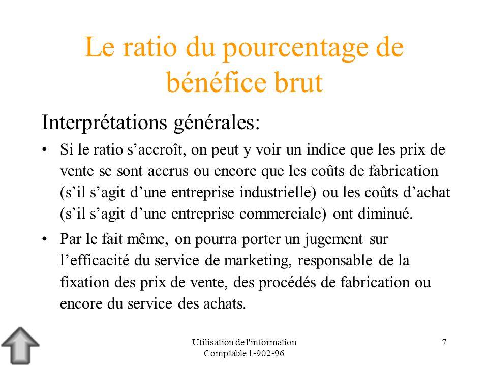 Utilisation de l information Comptable 1-902-96 8 Le ratio du pourcentage de bénéfice brut