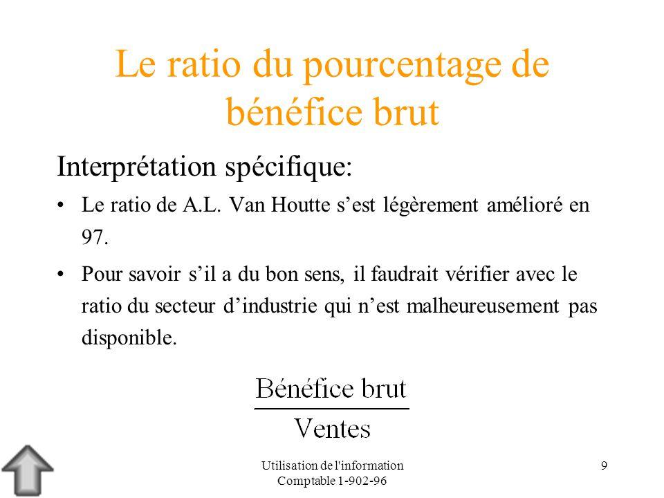 Utilisation de l information Comptable 1-902-96 9 Le ratio du pourcentage de bénéfice brut Interprétation spécifique: Le ratio de A.L.