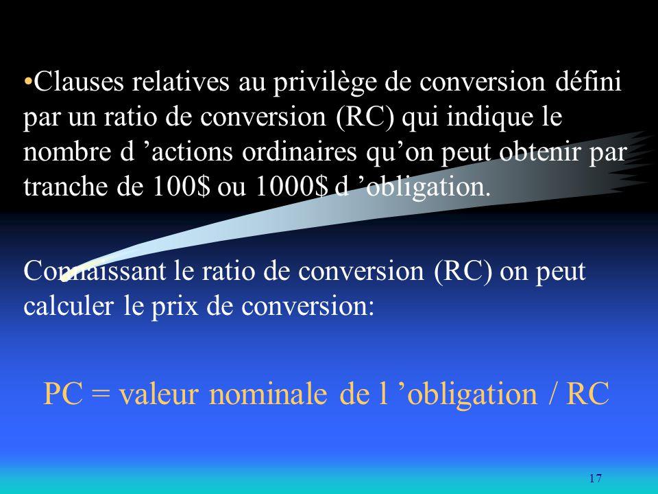 17 Clauses relatives au privilège de conversion défini par un ratio de conversion (RC) qui indique le nombre d actions ordinaires quon peut obtenir pa