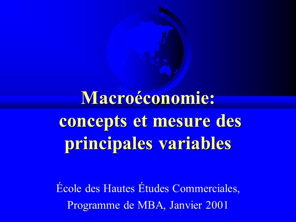 Macroéconomie: concepts et mesure des principales variables École des Hautes Études Commerciales, Programme de MBA, Janvier 2001