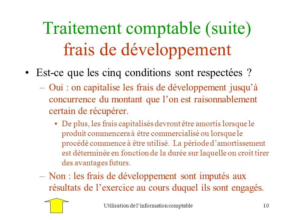 Utilisation de linformation comptable10 Traitement comptable (suite) frais de développement Est-ce que les cinq conditions sont respectées ? –Oui : on