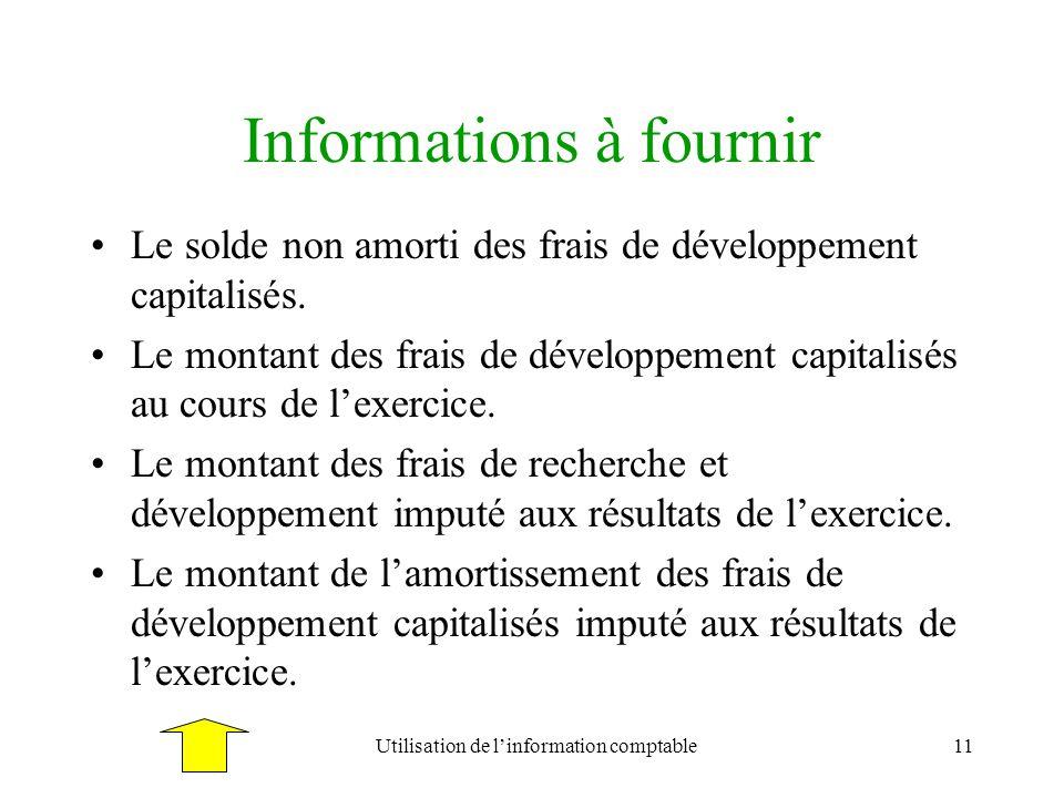 Utilisation de linformation comptable11 Informations à fournir Le solde non amorti des frais de développement capitalisés. Le montant des frais de dév