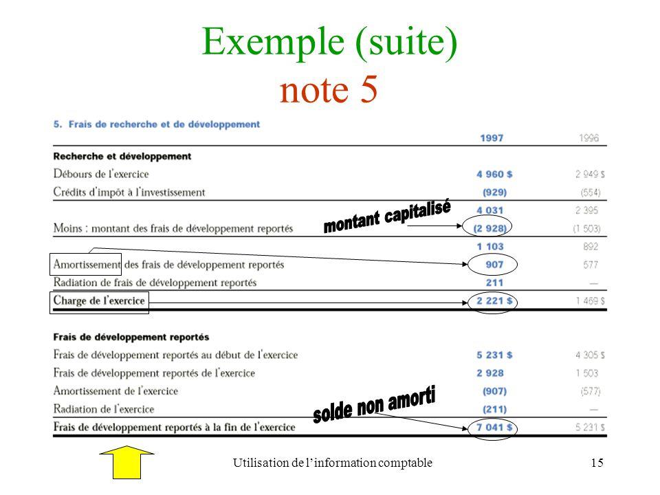 Utilisation de linformation comptable15 Exemple (suite) note 5