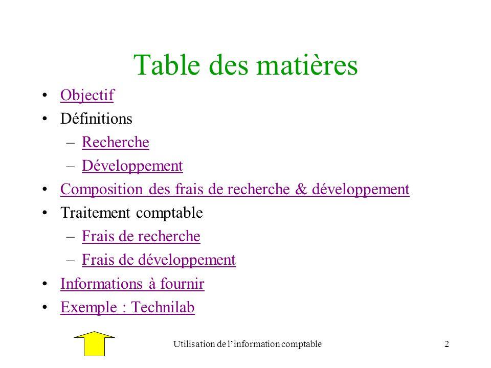 2 Table des matières Objectif Définitions –RechercheRecherche –DéveloppementDéveloppement Composition des frais de recherche & développement Traitemen