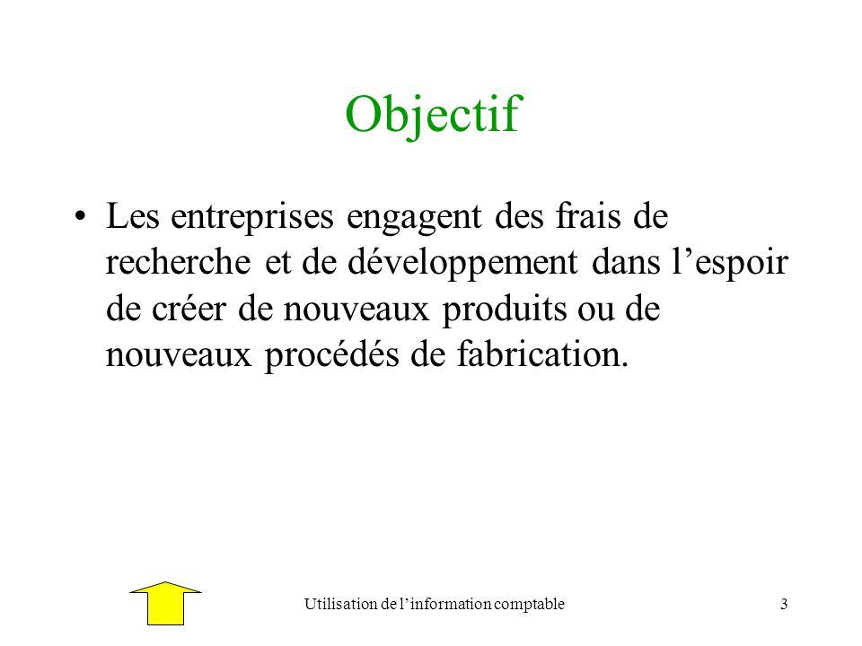 Utilisation de linformation comptable3 Objectif Les entreprises engagent des frais de recherche et de développement dans lespoir de créer de nouveaux