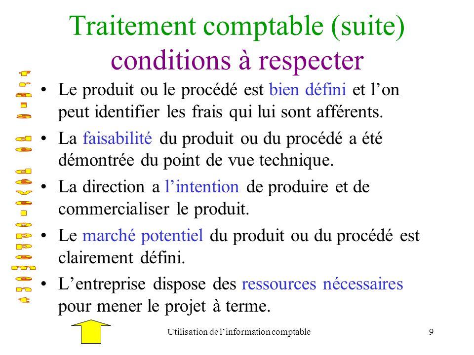 Utilisation de linformation comptable9 Traitement comptable (suite) conditions à respecter Le produit ou le procédé est bien défini et lon peut identi