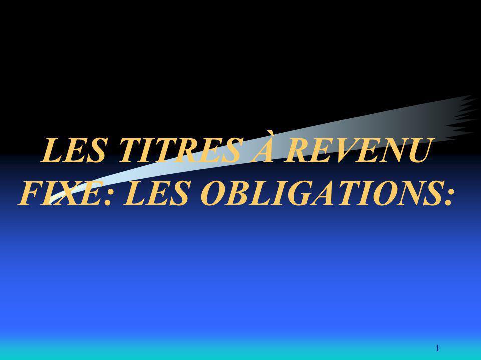 1 LES TITRES À REVENU FIXE: LES OBLIGATIONS: