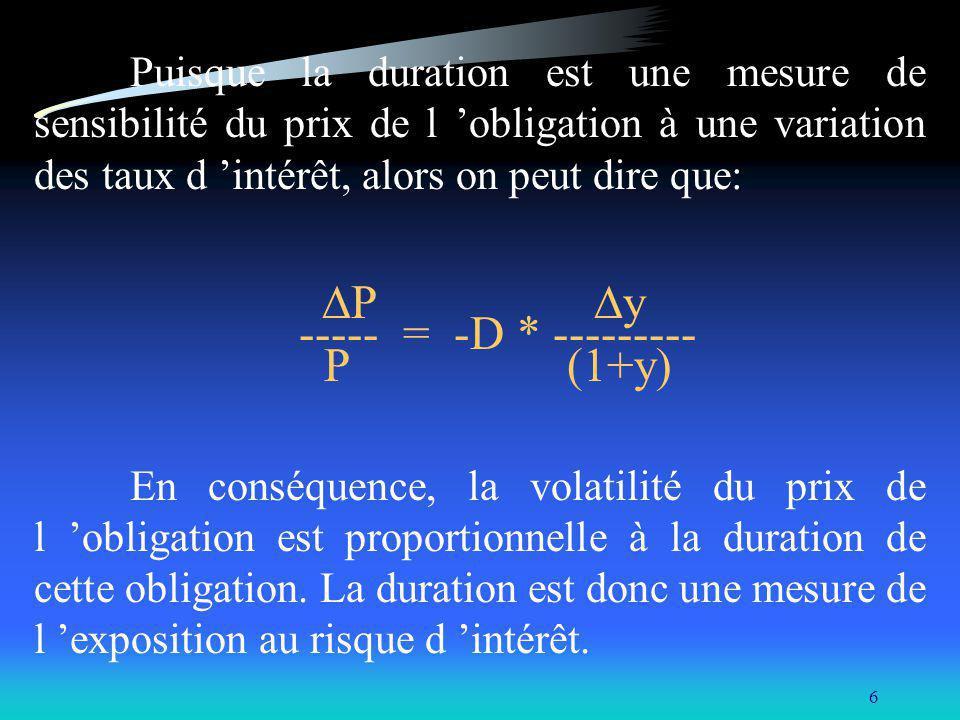 6 Puisque la duration est une mesure de sensibilité du prix de l obligation à une variation des taux d intérêt, alors on peut dire que: P y ----- = -D