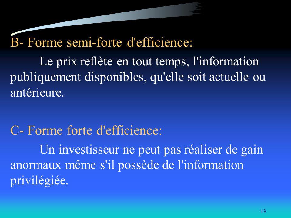 19 B- Forme semi-forte d'efficience: Le prix reflète en tout temps, l'information publiquement disponibles, qu'elle soit actuelle ou antérieure. C- Fo