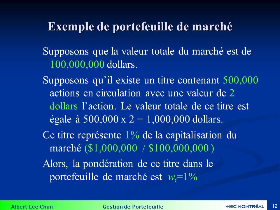 Albert Lee Chun Gestion de Portefeuille 12 Exemple de portefeuille de marché Supposons que la valeur totale du marché est de 100,000,000 dollars.
