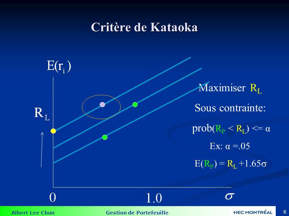 Albert Lee Chun Gestion de Portefeuille 7 Critère de Tessler On choisit R L On maximise E(R p ) Sous contrainte: prob (R P < R L ) <= α Ex: α =.05 E(R P ) >= R L +1.65