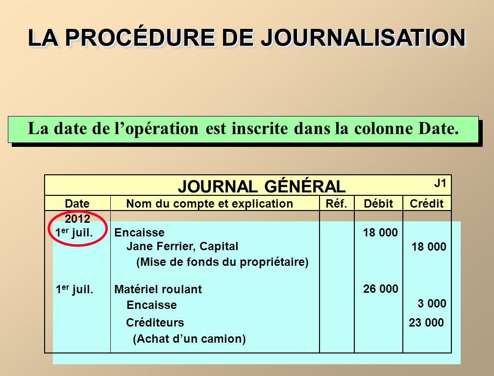 LA PROCÉDURE DE JOURNALISATION La date de lopération est inscrite dans la colonne Date. JOURNAL GÉNÉRAL J1 DateNom du compte et explicationRéf.DébitCr