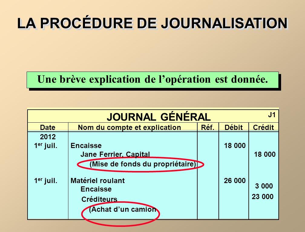 LA PROCÉDURE DE JOURNALISATION Une brève explication de lopération est donnée. JOURNAL GÉNÉRAL J1 DateNom du compte et explicationRéf.DébitCrédit 2012