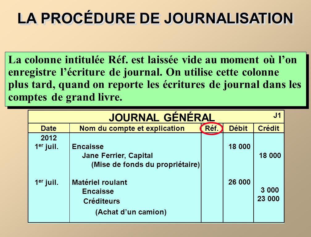 LA PROCÉDURE DE JOURNALISATION La colonne intitulée Réf. est laissée vide au moment où lon enregistre lécriture de journal. On utilise cette colonne p