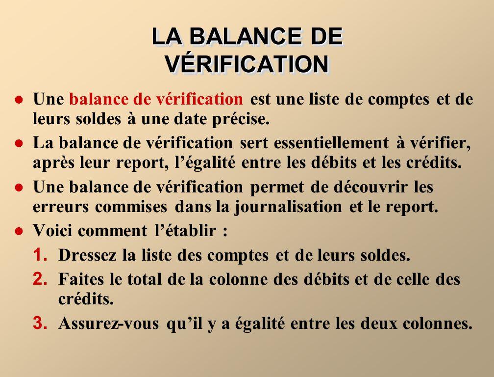 LA BALANCE DE VÉRIFICATION Une balance de vérification est une liste de comptes et de leurs soldes à une date précise. La balance de vérification sert