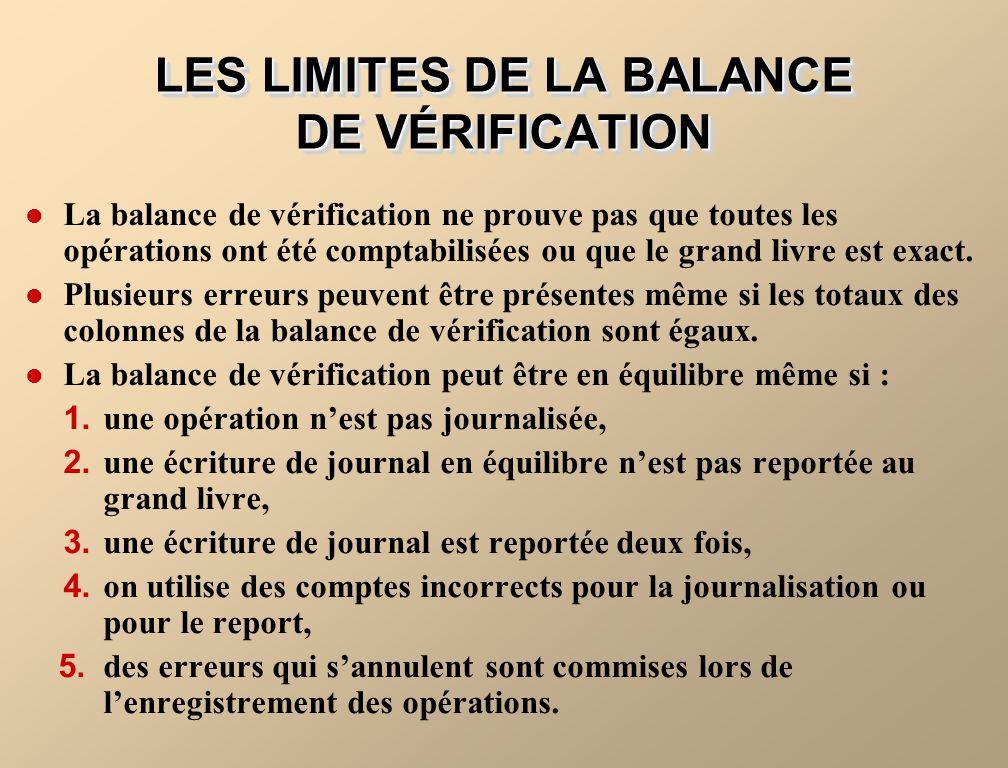 LES LIMITES DE LA BALANCE DE VÉRIFICATION La balance de vérification ne prouve pas que toutes les opérations ont été comptabilisées ou que le grand livre est exact.