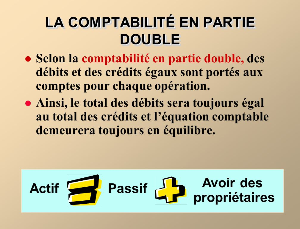 LA COMPTABILITÉ EN PARTIE DOUBLE Selon la comptabilité en partie double, des débits et des crédits égaux sont portés aux comptes pour chaque opération