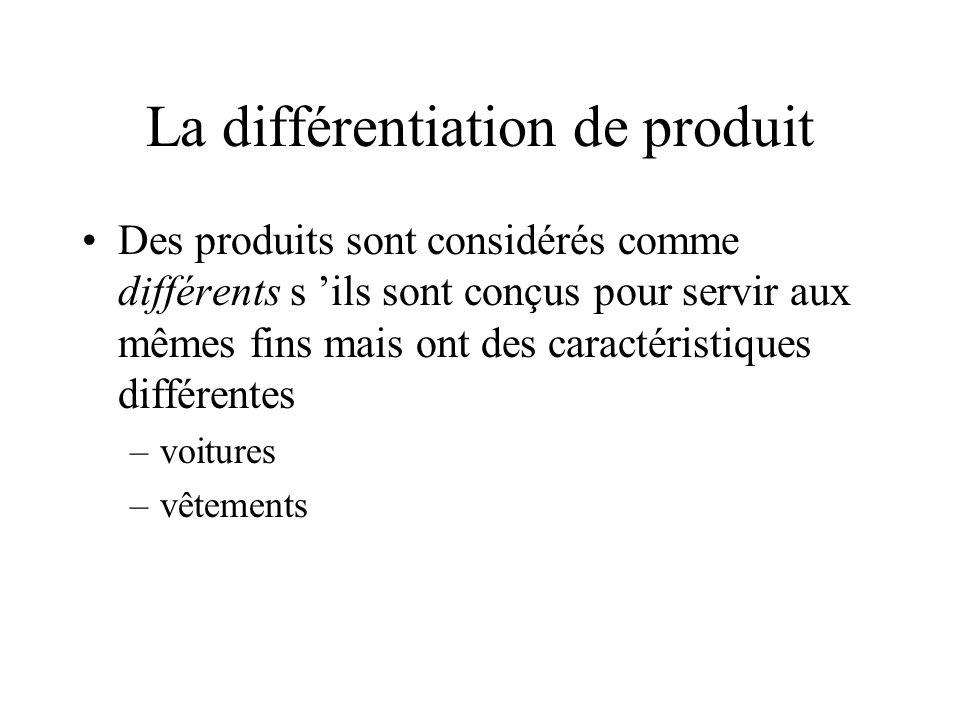La différentiation de produit Des produits sont considérés comme différents s ils sont conçus pour servir aux mêmes fins mais ont des caractéristiques