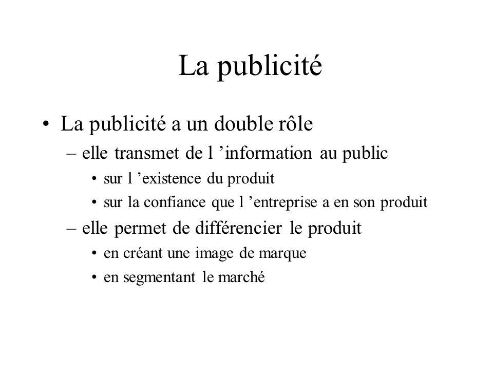 La publicité La publicité a un double rôle –elle transmet de l information au public sur l existence du produit sur la confiance que l entreprise a en