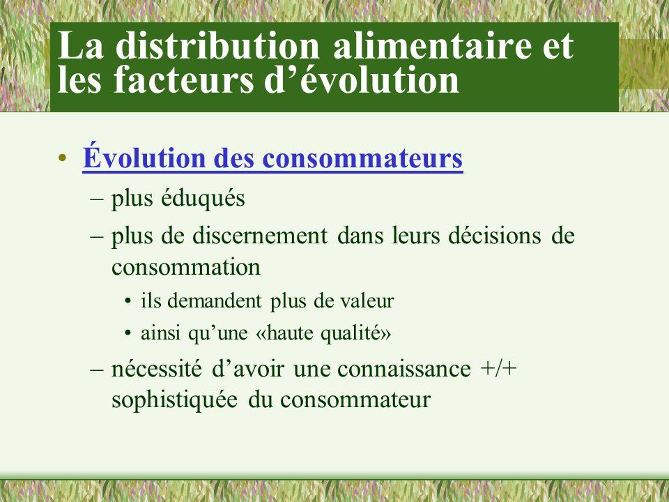 La distribution alimentaire et les facteurs dévolution Évolution des consommateurs –plus éduqués –plus de discernement dans leurs décisions de consommation ils demandent plus de valeur ainsi quune «haute qualité» –nécessité davoir une connaissance +/+ sophistiquée du consommateur