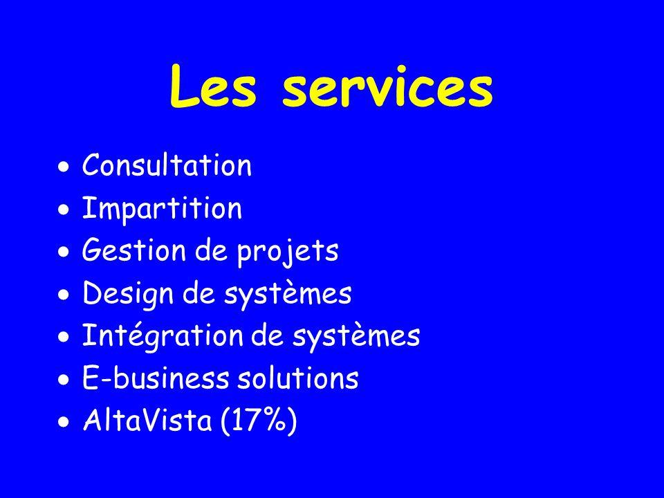 Les services Consultation Impartition Gestion de projets Design de systèmes Intégration de systèmes E-business solutions AltaVista (17%)