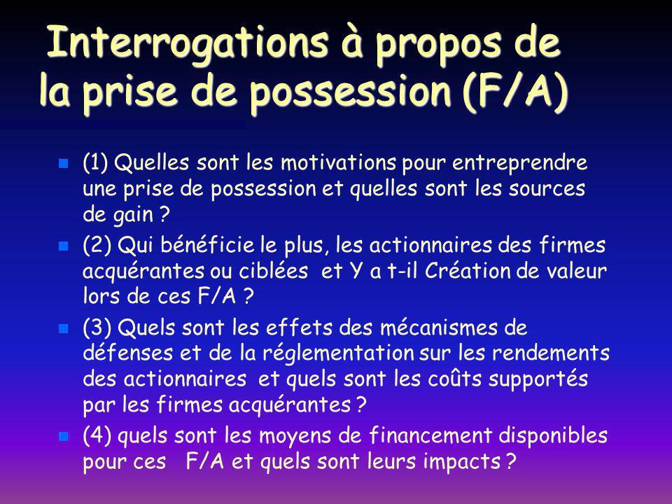 Interrogations à propos de la prise de possession (F/A) n n (1) Quelles sont les motivations pour entreprendre une prise de possession et quelles sont les sources de gain .