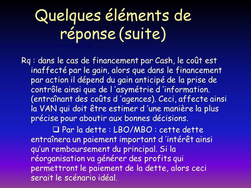 Quelques éléments de réponse (suite) Rq : dans le cas de financement par Cash, le coût est inaffecté par le gain, alors que dans le financement par action il dépend du gain anticipé de la prise de contrôle ainsi que de l asymétrie d information.