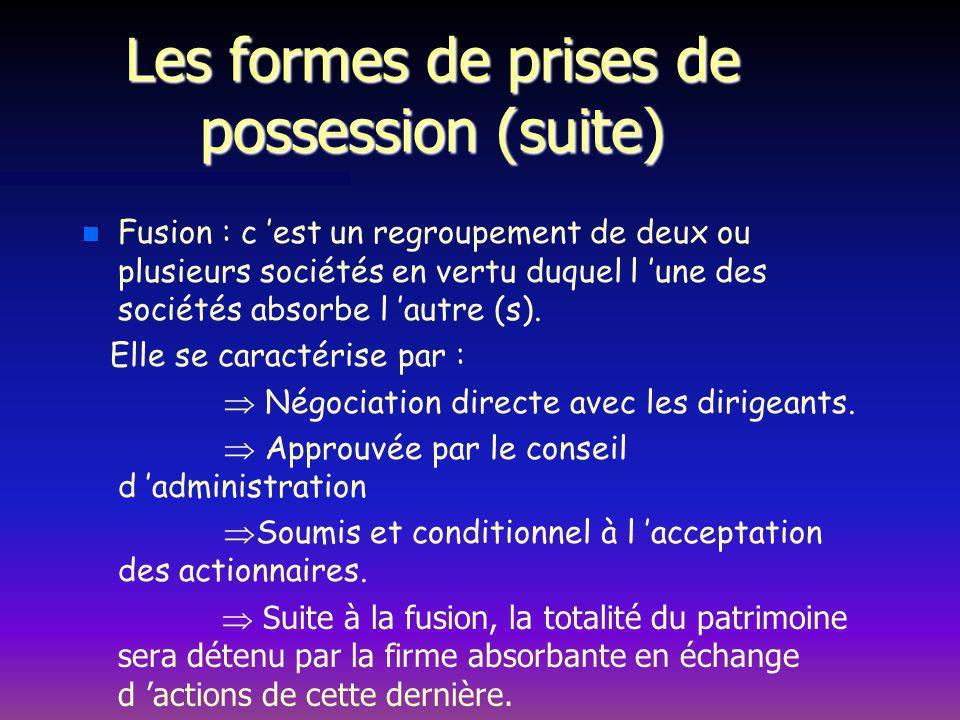 Les formes de prises de possession (suite) n n Fusion : c est un regroupement de deux ou plusieurs sociétés en vertu duquel l une des sociétés absorbe l autre (s).