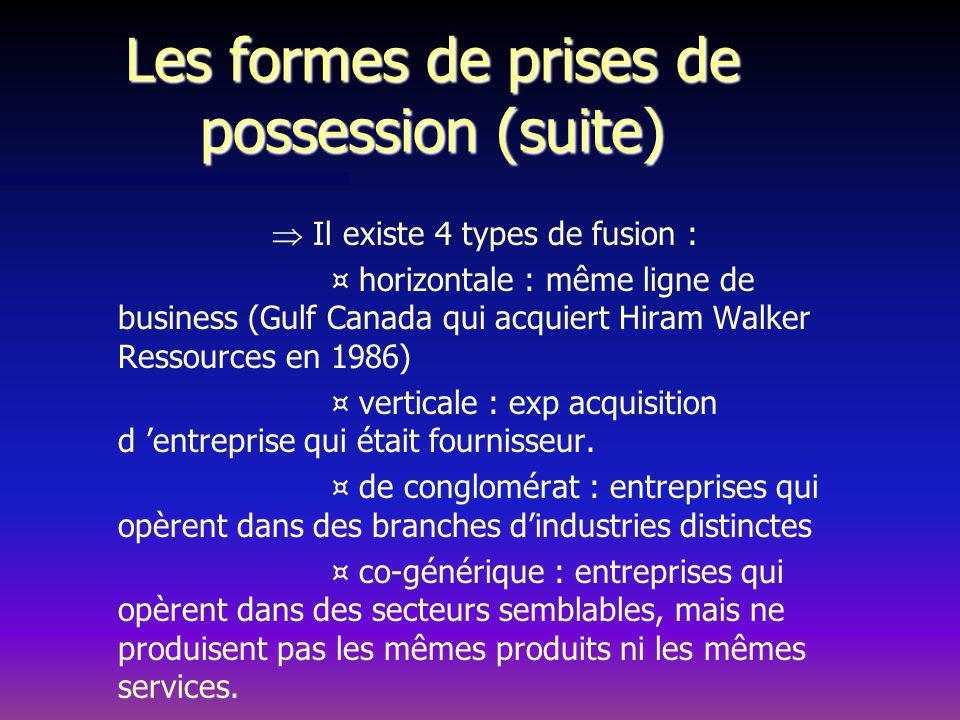 Les formes de prises de possession (suite) Il existe 4 types de fusion : ¤ horizontale : même ligne de business (Gulf Canada qui acquiert Hiram Walker Ressources en 1986) ¤ verticale : exp acquisition d entreprise qui était fournisseur.