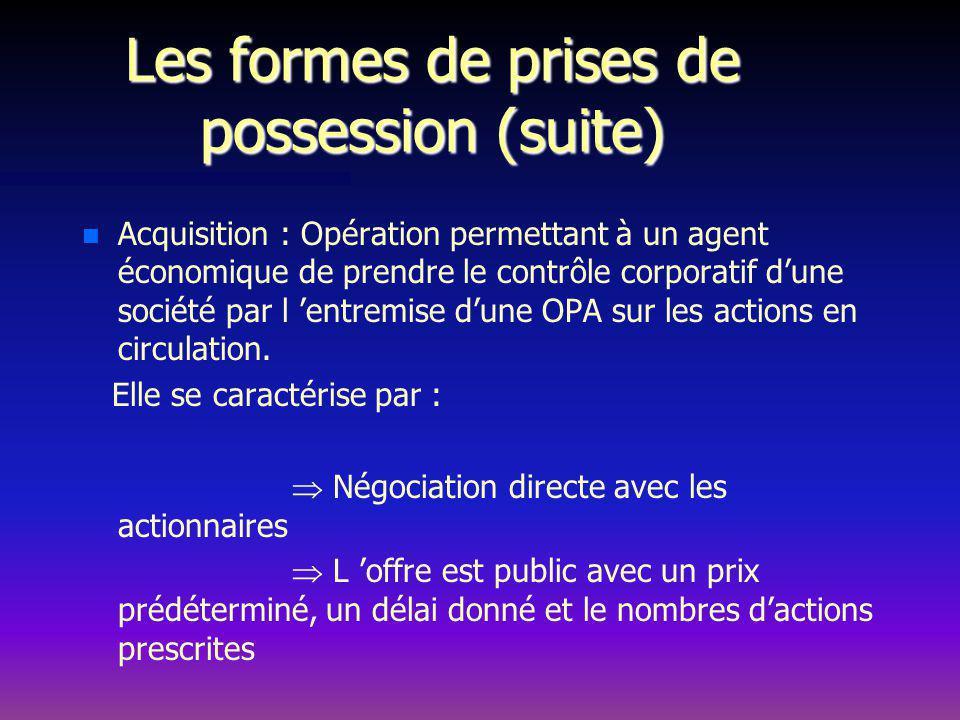Les formes de prises de possession (suite) n n Acquisition : Opération permettant à un agent économique de prendre le contrôle corporatif dune société par l entremise dune OPA sur les actions en circulation.