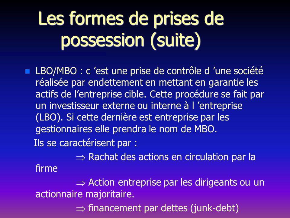 Les formes de prises de possession (suite) n n LBO/MBO : c est une prise de contrôle d une société réalisée par endettement en mettant en garantie les actifs de lentreprise cible.
