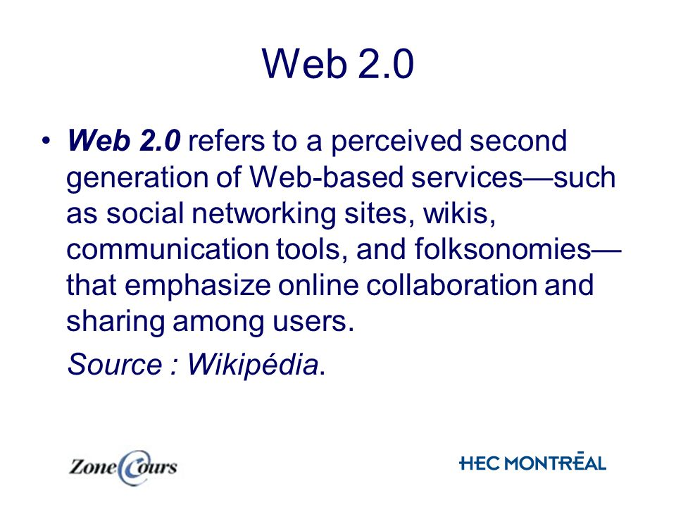 Web 2.0 Web 2.0 refers to a perceived second generation of Web-based servicessuch as social networking sites, wikis, communication tools, and folksonomies that emphasize online collaboration and sharing among users.