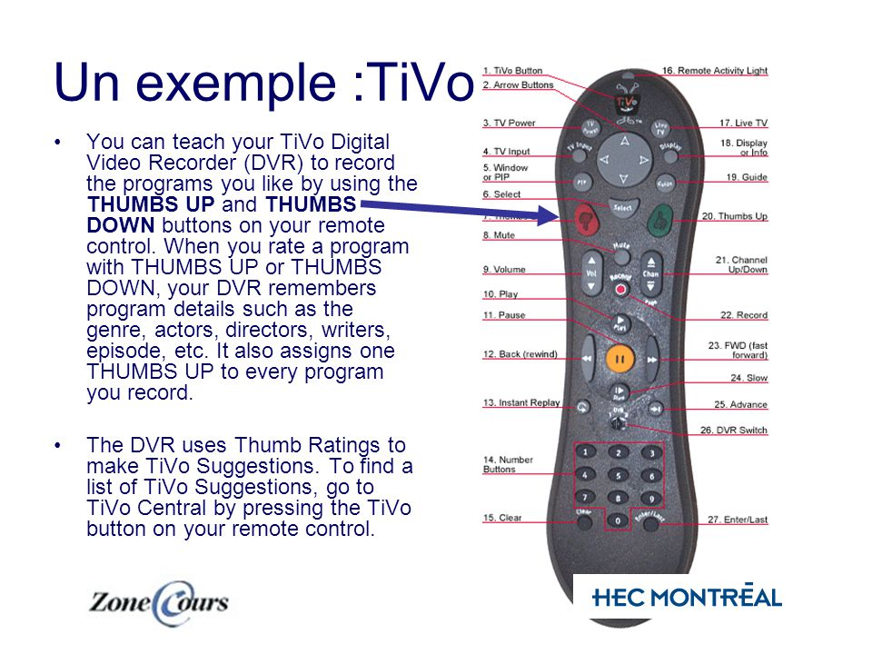Un exemple :TiVo You can teach your TiVo Digital Video Recorder (DVR) to record the programs you like by using the THUMBS UP and THUMBS DOWN buttons on your remote control.