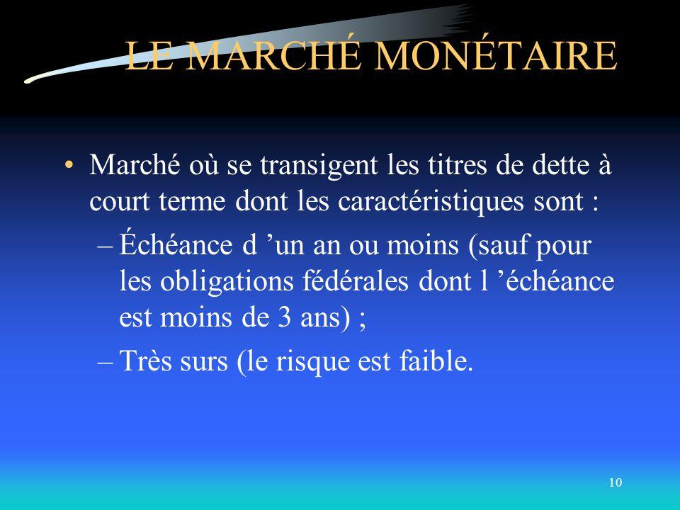 9 LES MARCHÉS ET LES INSTRUMENTS -LES MARCHÉS FINANCIERS Les classifications: Selon les instruments transigés: marché monétaire marché obligataire mar