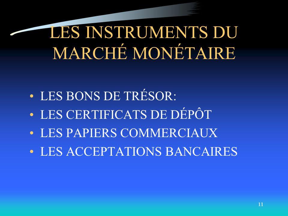 10 LE MARCHÉ MONÉTAIRE Marché où se transigent les titres de dette à court terme dont les caractéristiques sont : –Échéance d un an ou moins (sauf pou