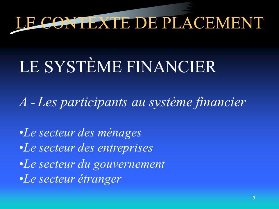 4 DÉFINITION DU PLACEMENT: Champ de la finance qui sintéresse à lévaluation des valeurs mobilières (titres financiers) et à la gestion de portefeuille