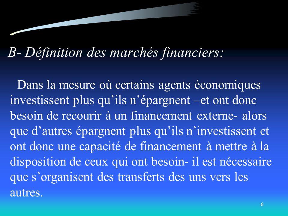5 LE CONTEXTE DE PLACEMENT LE SYSTÈME FINANCIER A - Les participants au système financier Le secteur des ménages Le secteur des entreprises Le secteur