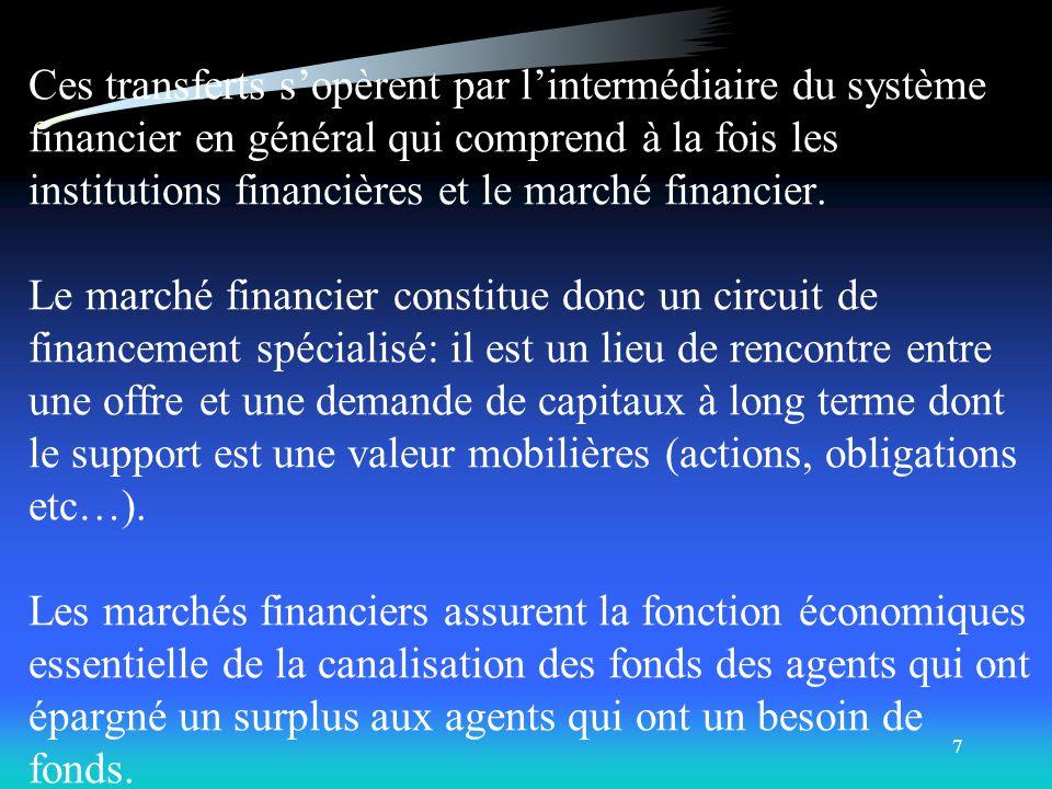 6 B- Définition des marchés financiers: Dans la mesure où certains agents économiques investissent plus quils népargnent –et ont donc besoin de recour