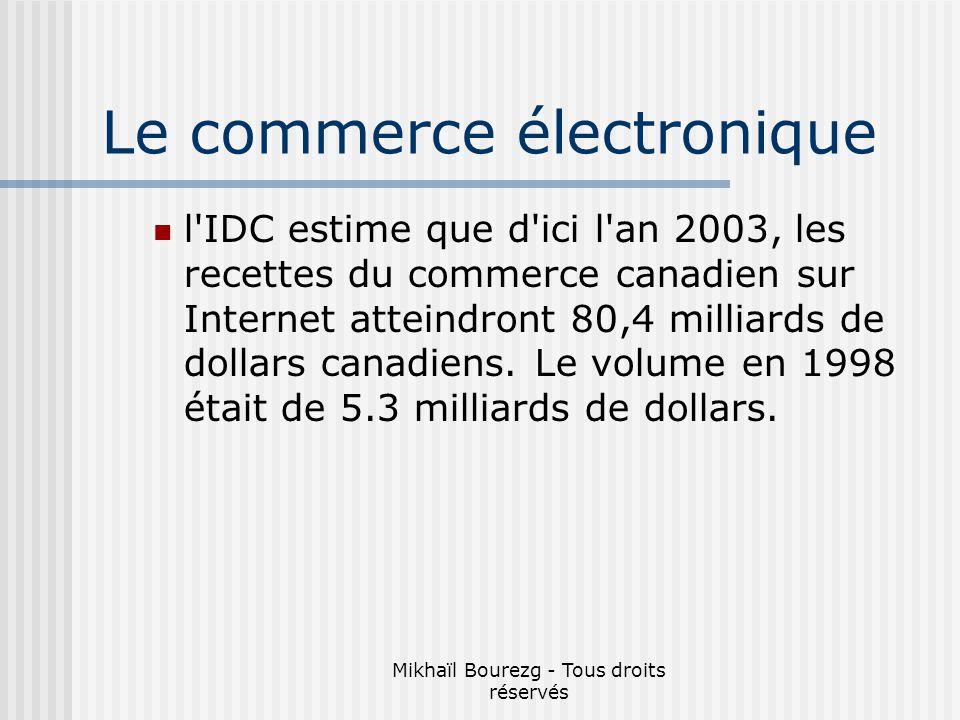 Mikhaïl Bourezg - Tous droits réservés l IDC estime que d ici l an 2003, les recettes du commerce canadien sur Internet atteindront 80,4 milliards de dollars canadiens.
