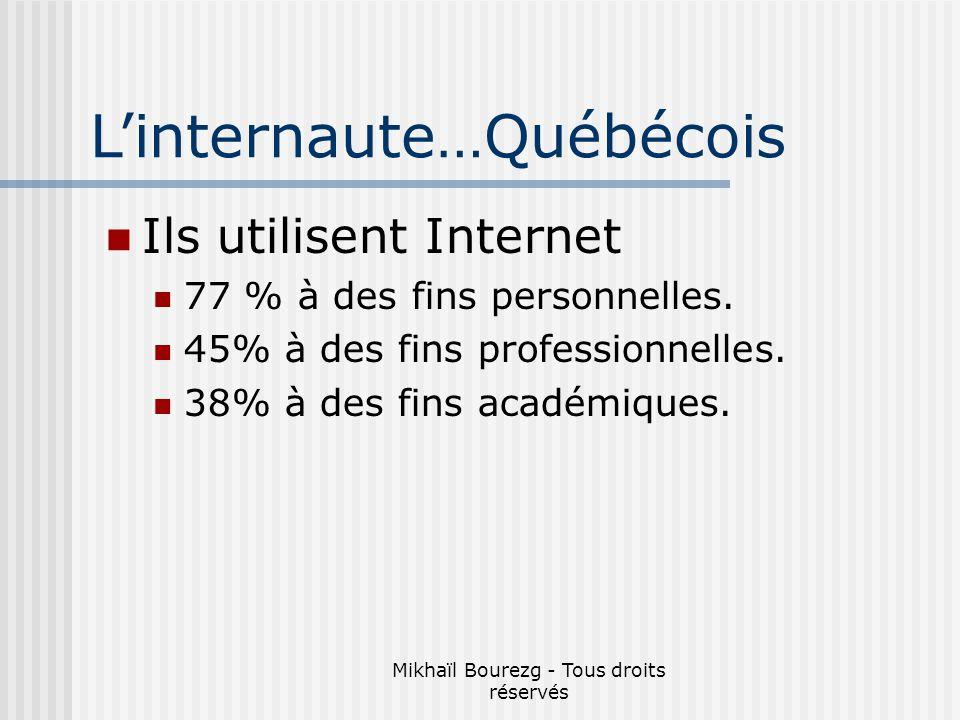 Mikhaïl Bourezg - Tous droits réservés Ils utilisent Internet 77 % à des fins personnelles.