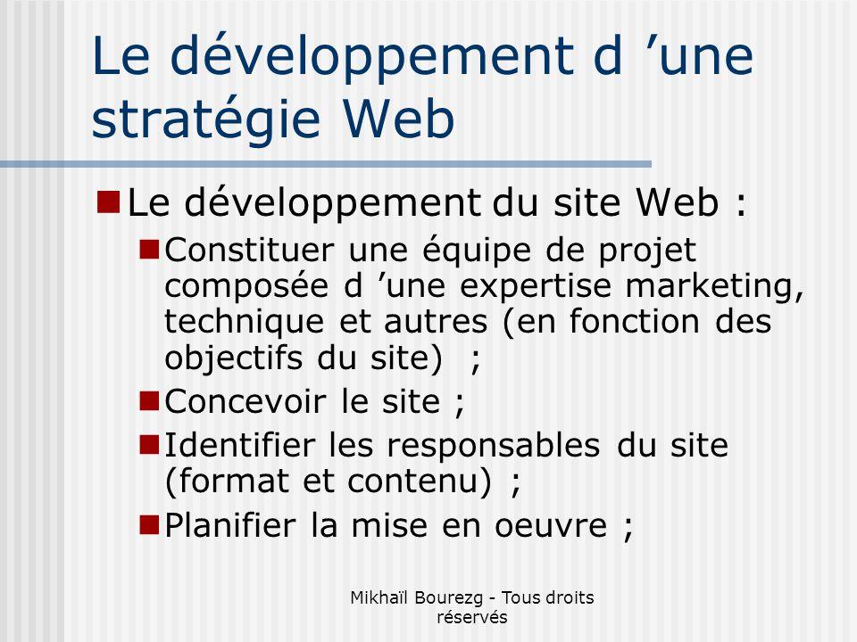 Mikhaïl Bourezg - Tous droits réservés Le développement d une stratégie Web Le développement du site Web : Constituer une équipe de projet composée d une expertise marketing, technique et autres (en fonction des objectifs du site) ; Concevoir le site ; Identifier les responsables du site (format et contenu) ; Planifier la mise en oeuvre ;