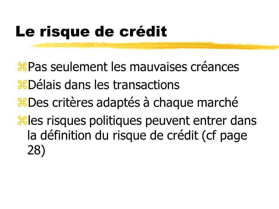 Le risque de crédit zPas seulement les mauvaises créances zDélais dans les transactions zDes critères adaptés à chaque marché zles risques politiques peuvent entrer dans la définition du risque de crédit (cf page 28)
