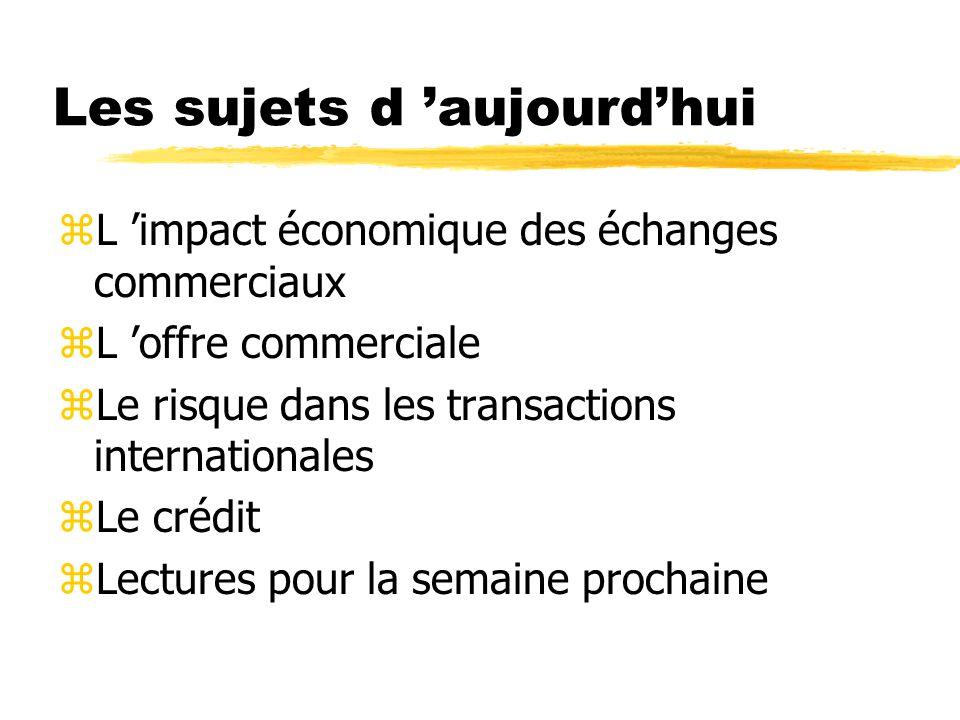 Les sujets d aujourdhui zL impact économique des échanges commerciaux zL offre commerciale zLe risque dans les transactions internationales zLe crédit zLectures pour la semaine prochaine