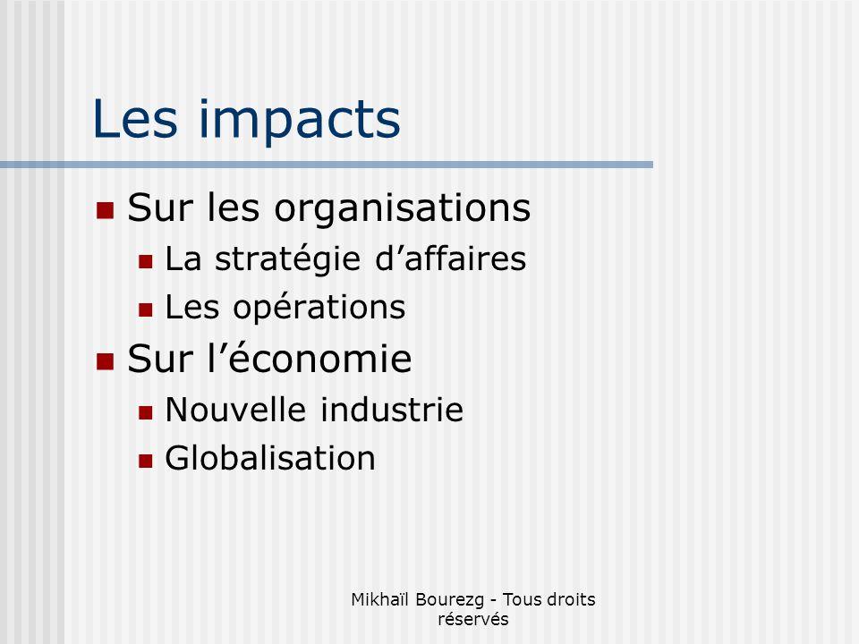 Mikhaïl Bourezg - Tous droits réservés Les impacts Sur les organisations La stratégie daffaires Les opérations Sur léconomie Nouvelle industrie Globalisation