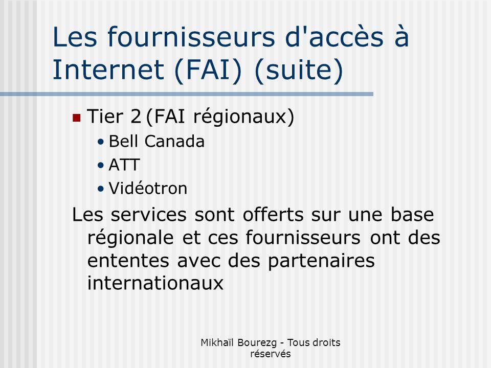 Mikhaïl Bourezg - Tous droits réservés Les fournisseurs d accès à Internet (FAI) (suite) Tier 2(FAI régionaux) Bell Canada ATT Vidéotron Les services sont offerts sur une base régionale et ces fournisseurs ont des ententes avec des partenaires internationaux