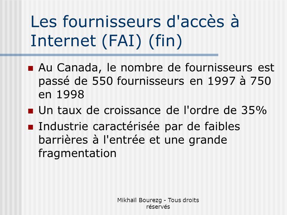 Mikhaïl Bourezg - Tous droits réservés Les fournisseurs d accès à Internet (FAI) (fin) Au Canada, le nombre de fournisseurs est passé de 550 fournisseurs en 1997 à 750 en 1998 Un taux de croissance de l ordre de 35% Industrie caractérisée par de faibles barrières à l entrée et une grande fragmentation