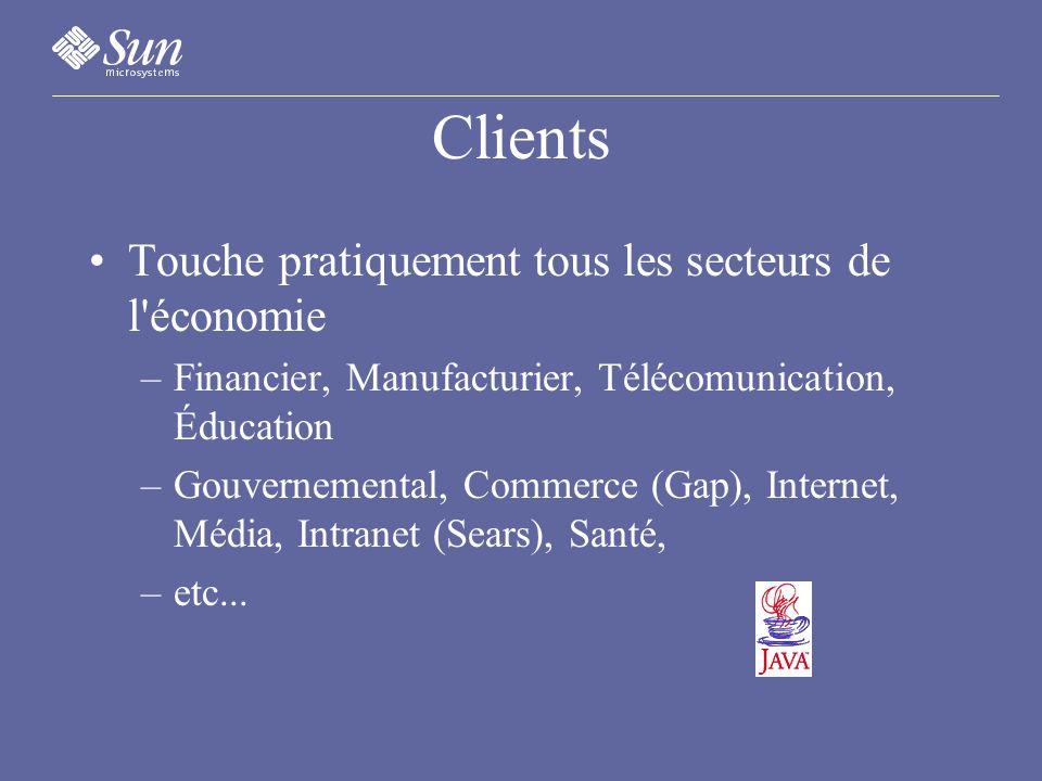Clients Touche pratiquement tous les secteurs de l économie –Financier, Manufacturier, Télécomunication, Éducation –Gouvernemental, Commerce (Gap), Internet, Média, Intranet (Sears), Santé, –etc...