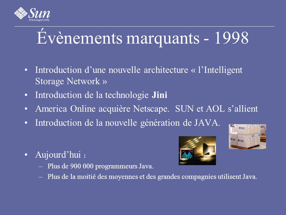 Évènements marquants - 1998 Introduction dune nouvelle architecture « lIntelligent Storage Network » Introduction de la technologie Jini America Online acquière Netscape.